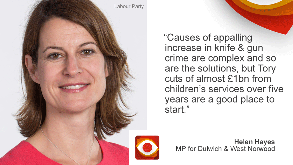 """Cause of appalling increases in knife & gun crime and complex and so are the solutions, but Tory cuts of almost £1bn from children's services over five years are a good place to start."""