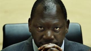 Congolese warlord Thomas Lubanga at the International Criminal Court (ICC) in the Hague, on July 10, 2012.