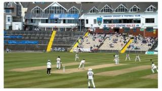 Glamorgan bat against Durham in Swansea