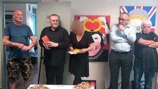 (Left to right) Robin Stewart, Reach project, Michael Stone, Karen Stone, DUP East Belfast Councillor George Dorrian, former DUP MLA Sammy Douglas