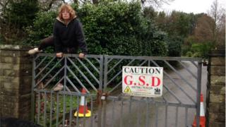 Martina Anscombe climbing cemetery gates