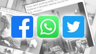 Technology Stacks of article screenshots with Facebook, WhatsApp and Twitter logos on top