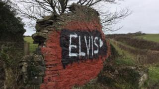 Elvis on the Cofiwch Dryweryn wall