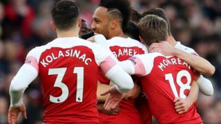 Awọn agbabọọlu Arsenal n ṣe ajọyọ