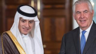 Suudi Arabistan Dışişleri Bakanı Adil Bin Ahmed el-Cubeyr ve ABD Dışişleri Bakanı Rex Tillerson