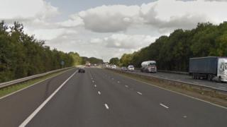 M69 Leicester-bound carriageway in Thurlaston