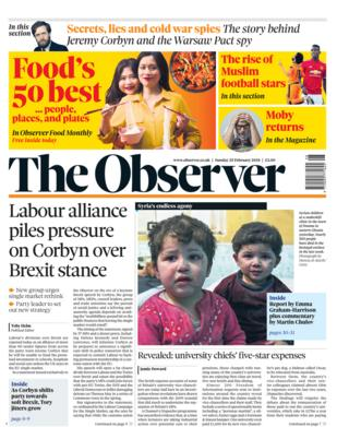 The Observer front page 25/02/2018