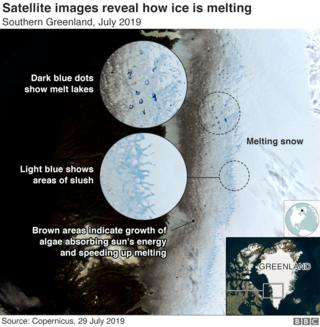 Satellite image shows how ice is melting