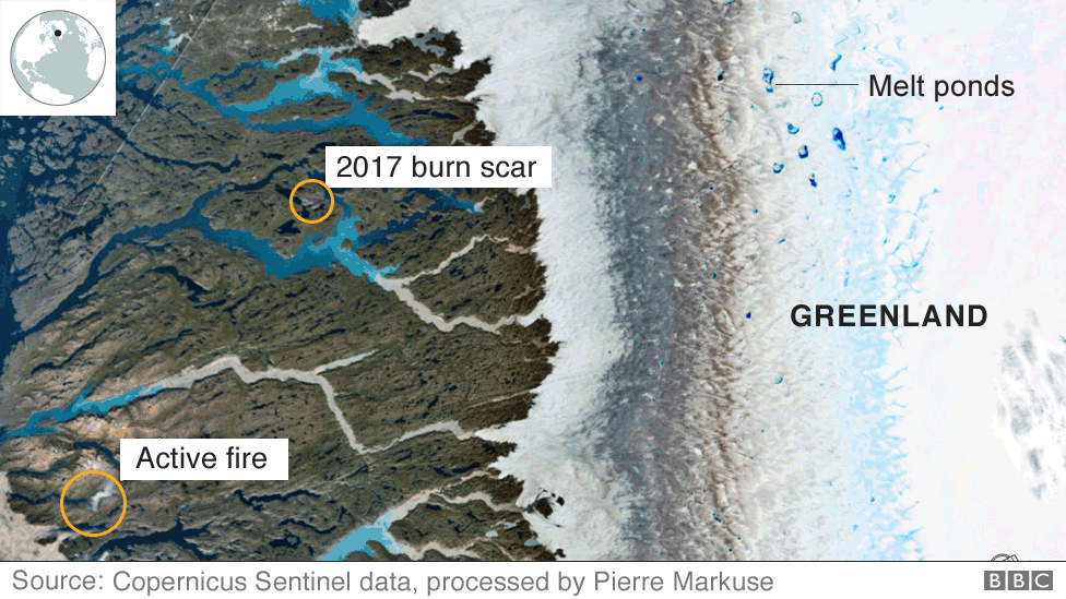 Satellite image of a wildfire in Greenland