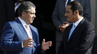 German Foreign Minister Sigmar Gabriel (L) talks with the Foreign Minister of Qatar, Sheikh Mohammed al-Thani, in Wolfenbuettel, Germany, 9 June 2017