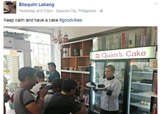 A grab of a Facebook post by Eliaquim Labang which shows him posing for photographers in his cake shop