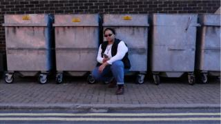 Rachael Simoes squats by skips
