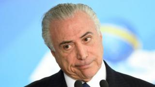 Brazilian President Michel Temer at the Planalto Palace in Brasilia, on June 26, 2017.