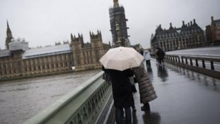 The storm has caused windy and rainy weather across the UK, including the capital, London.