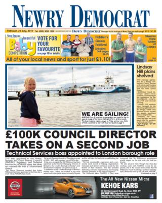 Front page of Newry Democrat, Tuesday 25 July