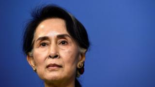 Myanmar's State Counsellor Aung San Suu Kyi speaks during a joint a press conference with Sweden's Prime minister at the Rosenbad government office on 12 June 2017 in Stockholm, Sweden.