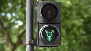 A green transgender symbol on a pedestrian crossing light in Trafalgar Square