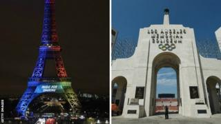 Eiffel Tower and Los Angeles Colliseum