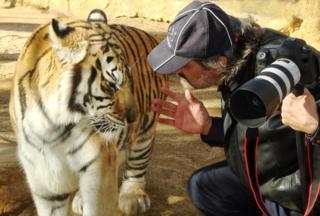 Pedro Jarque Krebs con un tigre