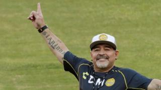 Diego Maradona waves to fans at the Banorte stadium in Culiacan, in the Mexican state of Sinaloa, Mexico on 10 September 2018.