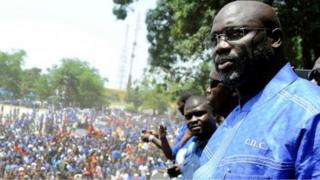 George Weah, file photo taken on April 28, 2016