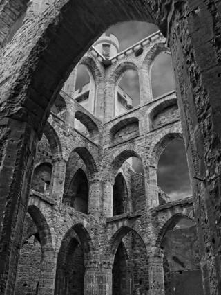 Black and white photograph of a castle