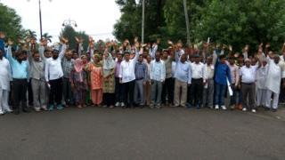 Protestas de una comunidad dalit, el 17 de julio de 2016, contra la violación en grupoen Rohtak.