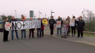 Protestors opposed to the incinerator in Barry