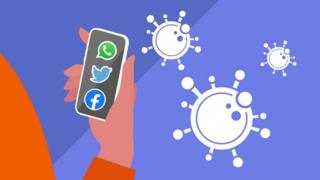 Graphic of a hand holding a phone with social media apps and germs nearby.