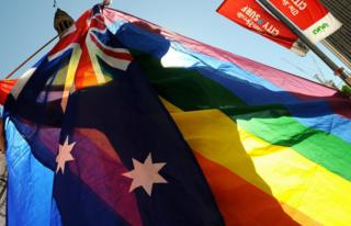 A file photo of a gay pride Australian flag on display during a Sydney parade