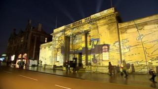 Projection on Ferens Art gallery