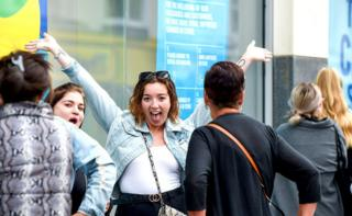 Shoppers queue for a Primark store