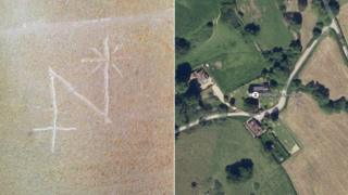 A composite image of the etched mark and an aerial view of the church
