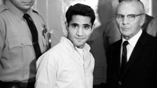 Sirhan Sirhan kills Democratic presidential hope Robert F. Kennedy in 1958.