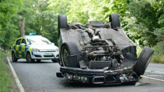 An upturned car