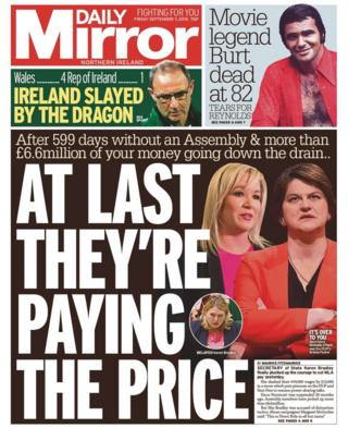 front page of the Daily Mirror, Friday 7 September 2018