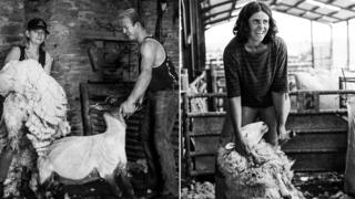 Annette Jones of Meadow Croft Farm, Dorstone, with her son, shearing sheep, and Kathryn Tarr of Llanbedr Hall, Painscastle shearing sheep