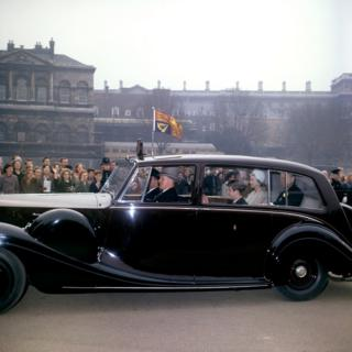 Queen Elizabeth II, the Duke of Edinburgh and Prince Charles, driving to Westminster Abbey for the wedding of Princess Alexandra and Angus Ogilvy