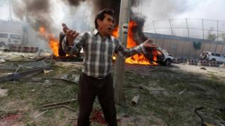 Afghan man at blast site