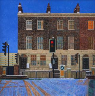 A painting of a snow-covered road and building in Limehouse in East London Doreen Fletcher