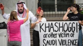 محتجون أمام سفارة الرياض في واشنطن يطالبون بالعدالة لخاشقجي