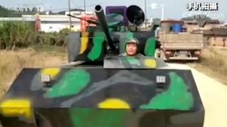 Mr Huang and his homemade tank