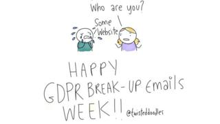 A panel from a webcomic celebrating 'GDPR Break Up Emails Week'