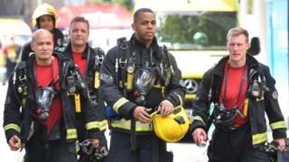 Firefighters at scene of Grenfell tower fire