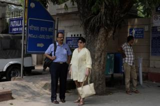Shekhar and Neelam outside Delhi's Patiala court house.
