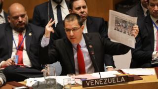 El ministro de Relaciones Exteriores de Venezuela, Jorge Alberto Arreaza, en su alocución ante el Consejo de Seguridad de la ONU.