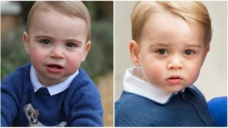 Prince Louis on the left and Prince George on the right