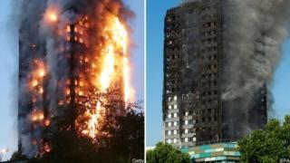 塔樓失火和滅火後