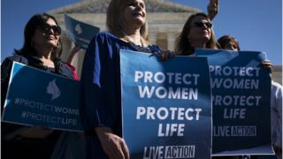 Pro-life activists participate in a rally outside of the Supreme Court in early March