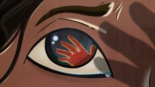 Ilustración de un una mano sobre un ojo pidiendo ayuda.